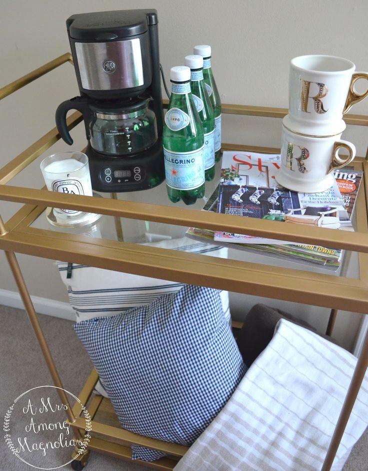 Guest bedroom bar cart