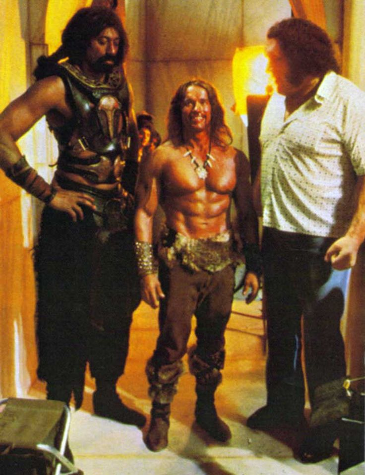Wilt Chamberlain Arnold Schwarzenegger and Andre the Giant on the on the set of Conan the Destroyer