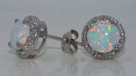 I didn't know I could fall in love for $130?!?!  14Kt White Gold Genuine Australian Opal by ElizabethJewelryInc, $129.99