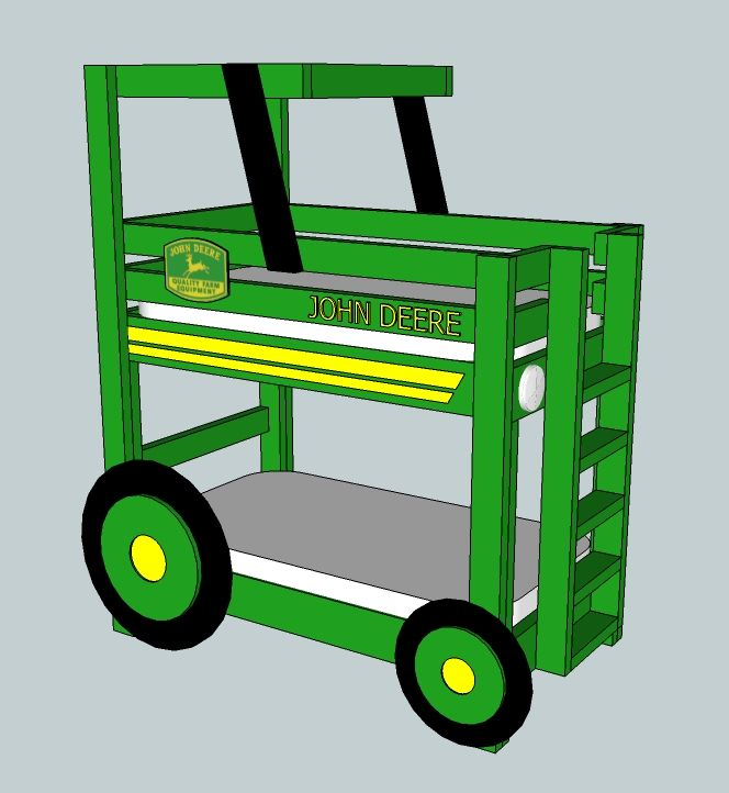 Build A John Deere Tractor Toddler Bunk Beds, Free And Easy DIY Project And  Furniture Plans