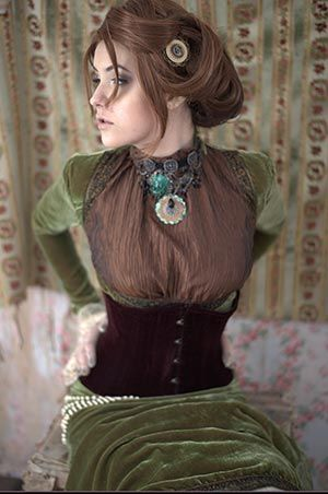 A look at steampunk fashion in New Hampshire  Dawnmarie Currier takes shabby chic up a notch in her vintage-style green velvet dress. Photo by Chloe Barcelou