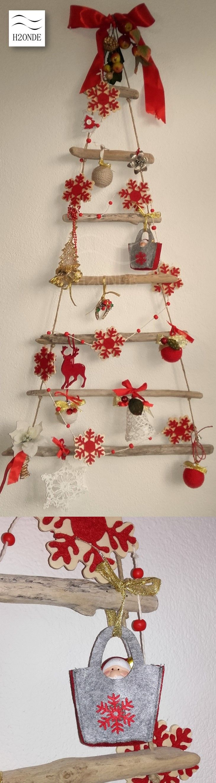 Wood Wall Christmas Tree Driftwood Xmas Modern Coastal