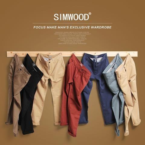 7b38bf5341917 Simwood Brand Spring Winter New Fashion 2018 Slim Straight Men Casual Pants  100% Pure Cotton Man Trousers Plus Size KX6033