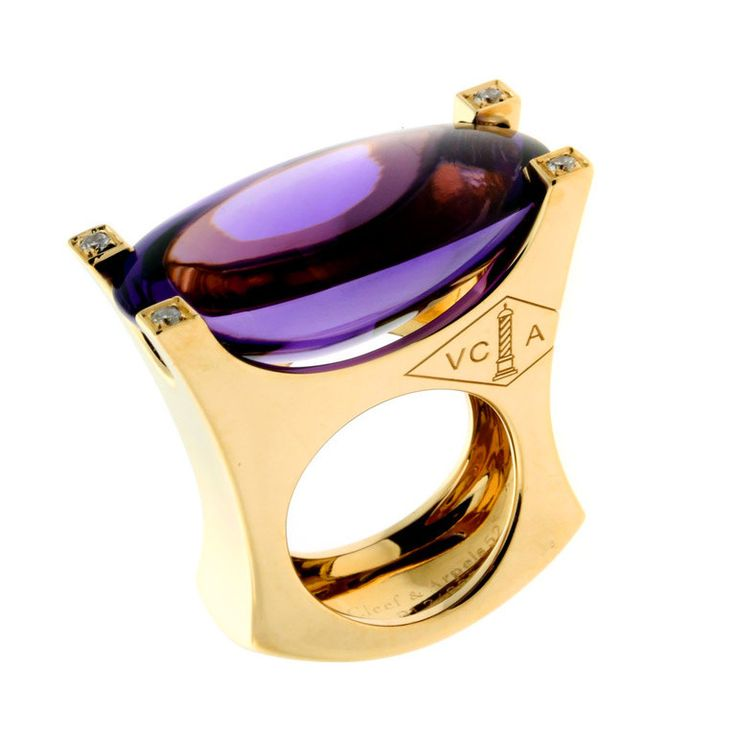 Van Cleef & Arpels Amethyst Diamond Yellow Gold cocktail ring. 1stdibs.com