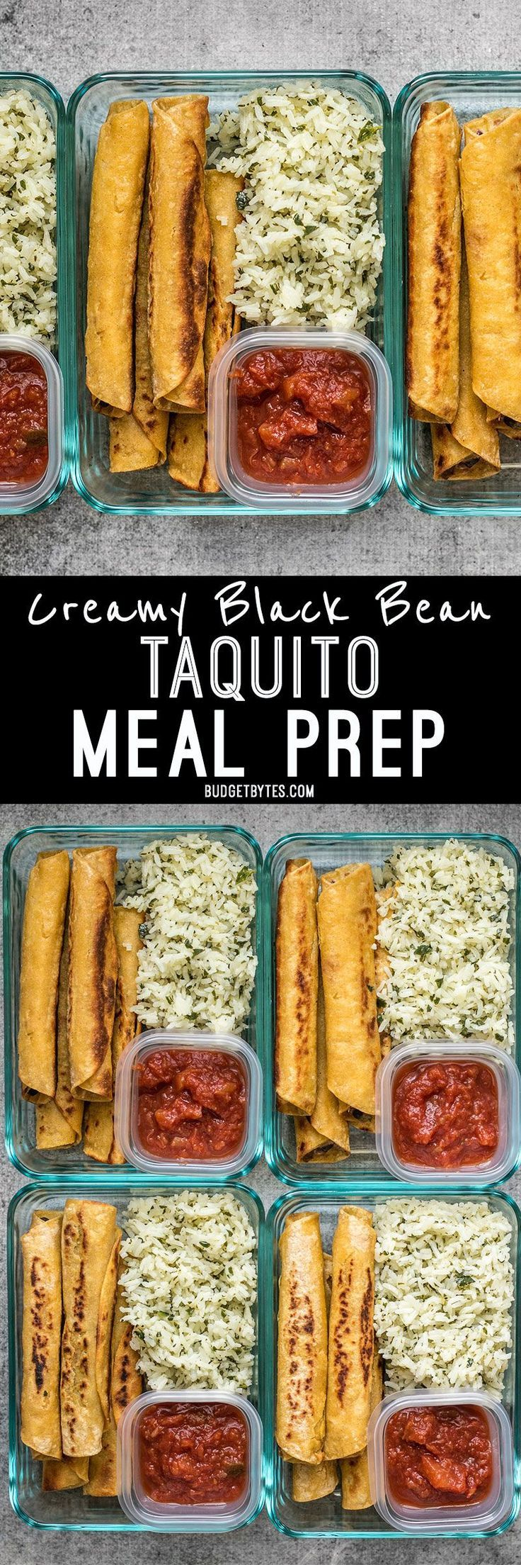 Creamy Black Bean Taquitos pair with tangy Cilantro Lime Rice for a simple and satisfying meal prep.