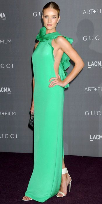 Rosie Huntington Whiteley and this green gown