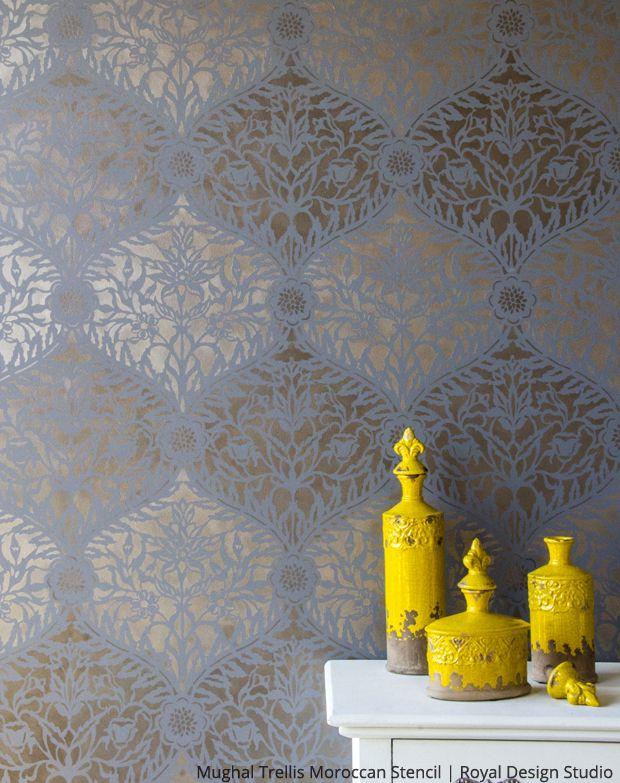 Mughal Trellis Moroccan Wall Stencil   Royal Design Studio