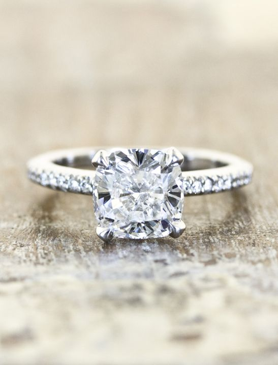 Unique  Cushion cut engagement ring  by kenanddanadesign
