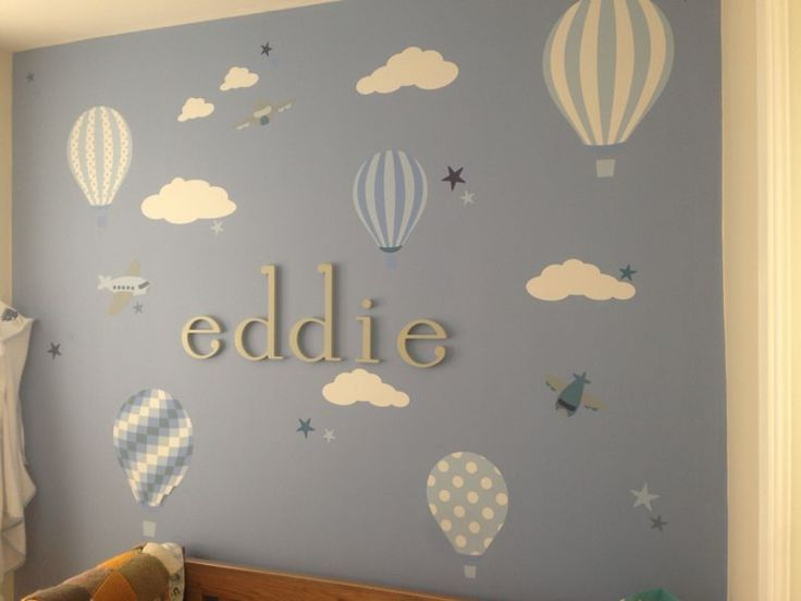 Enchanted Interiors Hot Air Balloons And Jets Premium Self Adhesive Fabric Nursery Wall Art