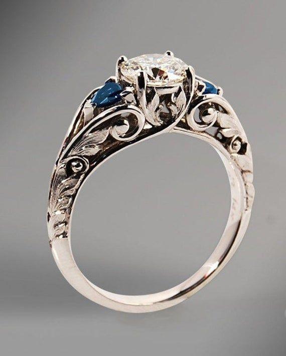 1.67 ct Milgrain Art Deco Engagement Ring ,Brilliant Cut Diamond Simulants , Bridal Ring ,Vintage Style