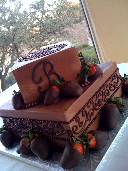 Grooms Cake. 2 tiered Monogram and chocolate covered strawberries