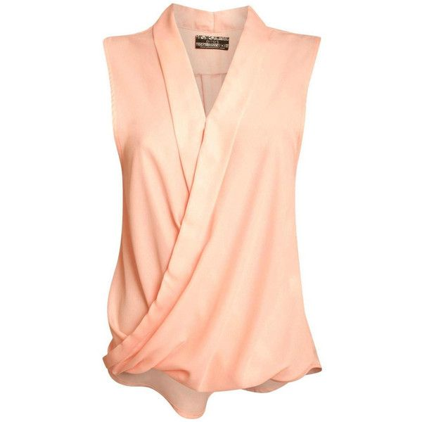Pilot Sleeveless Wrap V Neck Chiffon Top (£17) ❤ liked on Polyvore featuring tops, peach, wrap style top, peach sleeveless top, red top, red chiffon top and v-neck tops