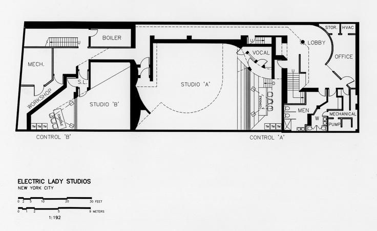 Basement Floor Plan, Electric Lady Studios, New York