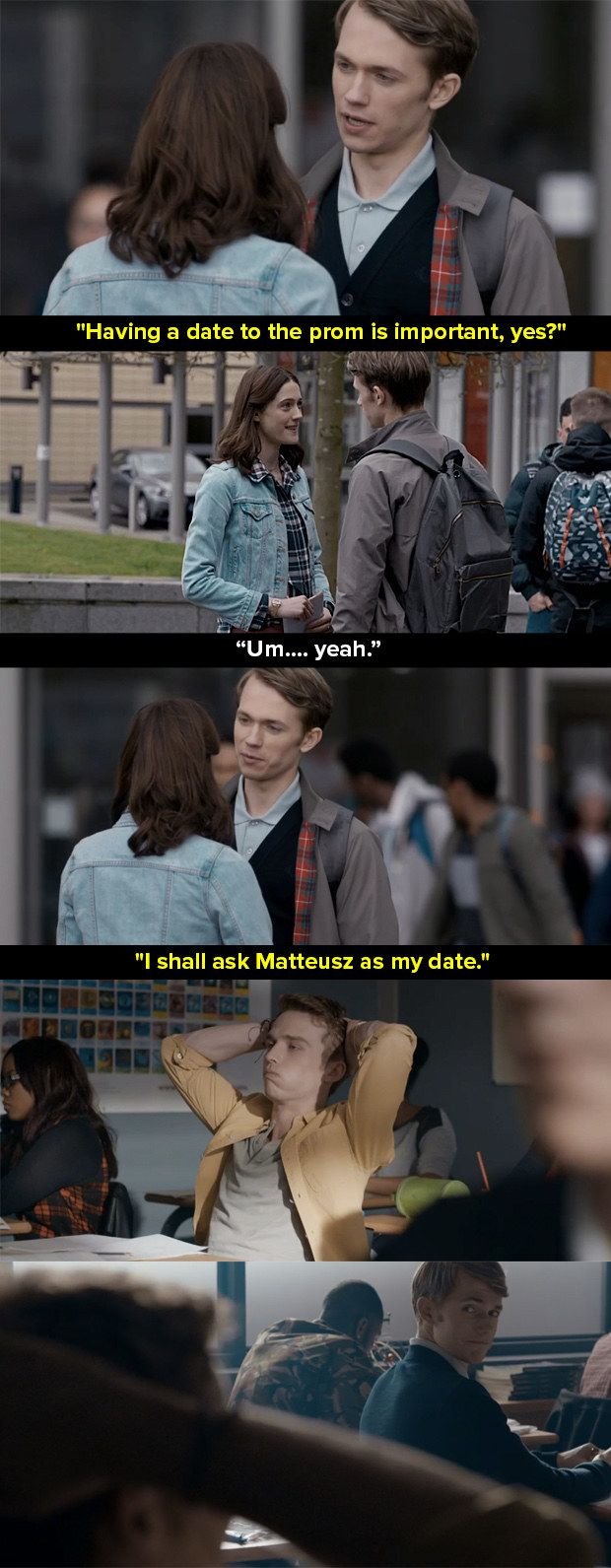 """There is, for example, the no-nonsense way Charlie says he likes guys, and in particular Matteusz.   The Writer Behind """"Class"""" On Why The Show Casually Portrays Gay Love"""