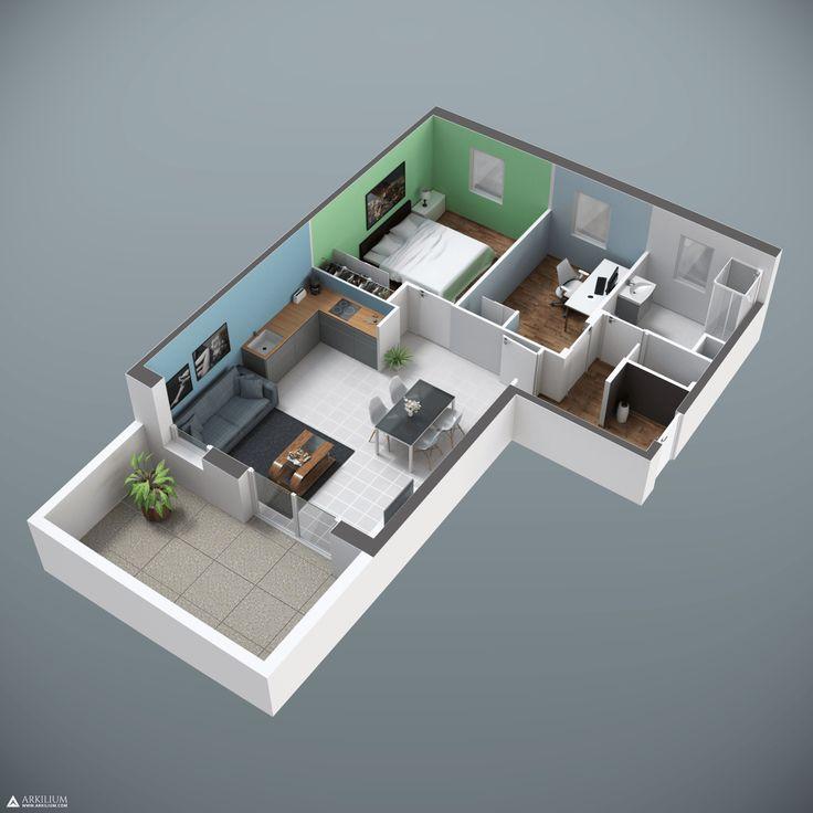 photorealism 3d Blueprint of an apartment on blender cycles www.arkilium.com