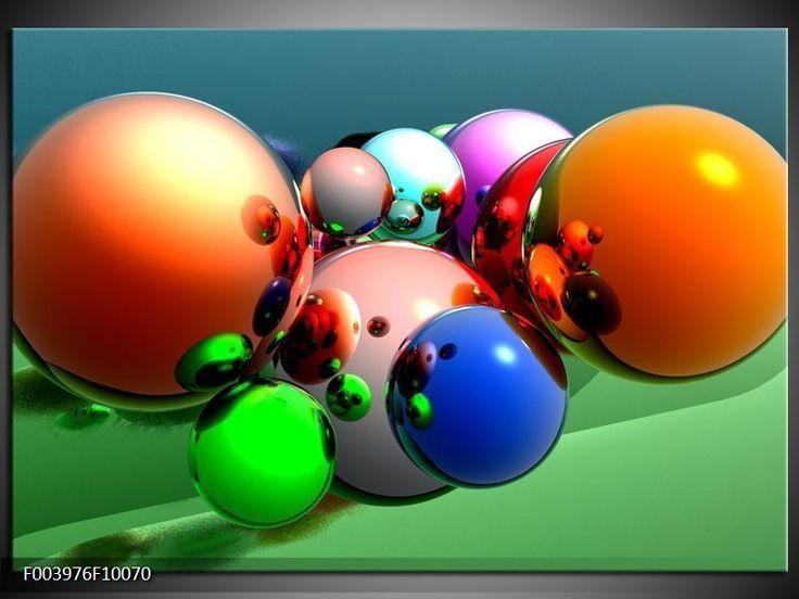 Foto canvas schilderij Abstract   Kleur: Oranje, Blauw, Groen   F003976