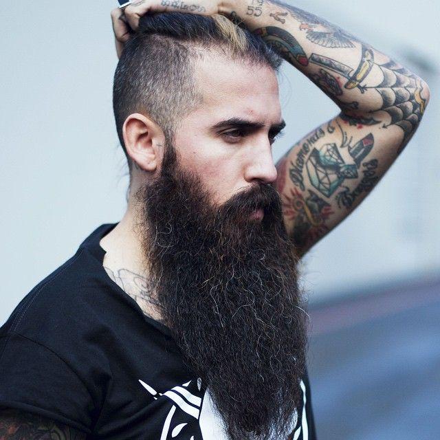 Trig Perez - beautiful full thick long black beard and mustache beards bearded man natural length epic bearding tattoos tattooed handsome #beardsforever