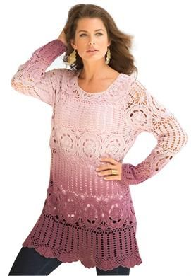Ombre Crochet Sweater by Denim 24/7 | Plus Size New Spring Collection | Roamans