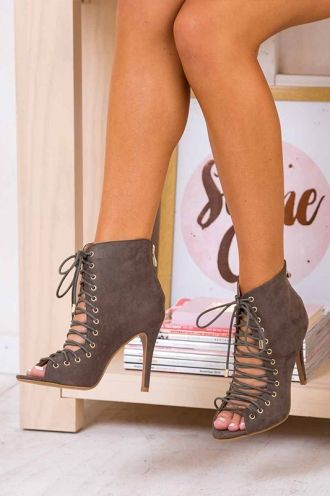 """Billini - Cartier - Petrol Suede Heel Boots Laced  Now you can walk the walk in style! The """"Cartier"""" shoe is a 10.5cm stiletto heel made by Billini. It features an on trend lace-up design with gold eyelets, as well as a fastening zip and open toe."""