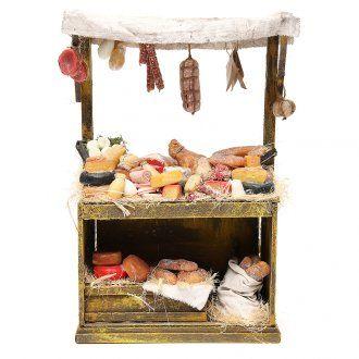 Puesto de quesos y embutidos para belén 40x25x12,5 cm | venta online en HOLYART