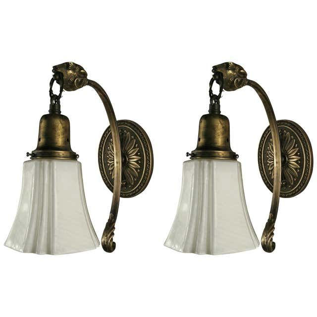 Pair Of Slip Shade Sconces 1920s 1930s For Sale At 1stdibs In 2020 Wall Lights Sconces Vintage Wall Lights
