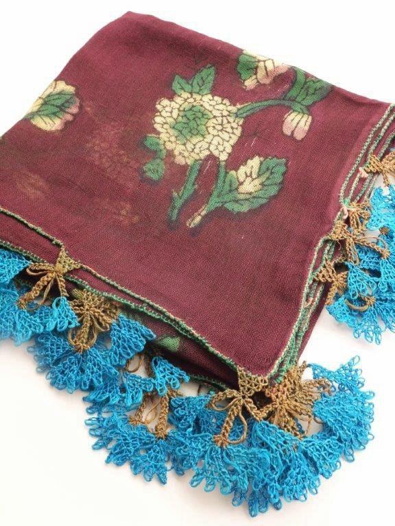 画像1: イズニック|木版アンティークオヤスカーフ・大ぶりイーネオヤ(シルク糸)|ボルドー×ブルー
