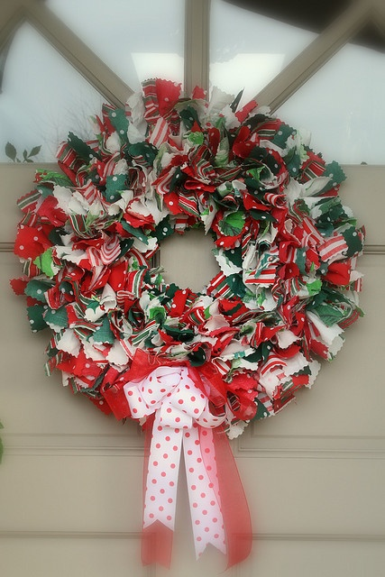 Christmas Fabric Rag Wreath by cherished*vintage, via Flickr