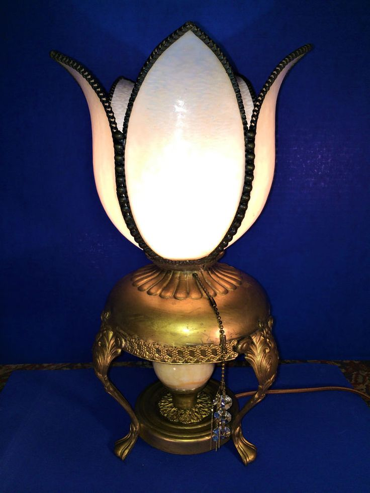 ANTIQUE VICTORIAN BENT PANEL SLAG GLASS ELECTRIC NOVELTY LAMP~! C.1910 #NoveltyVictorian