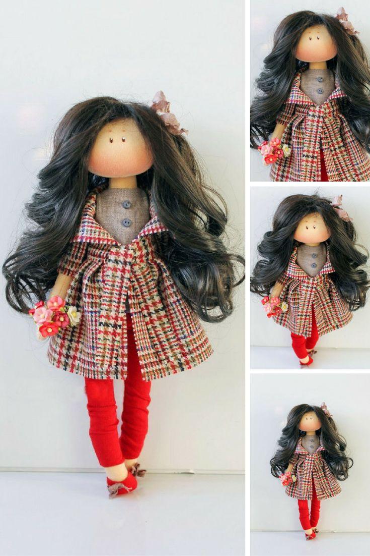 Winter doll Interior doll Handmade doll Soft doll Textile doll Art doll Cloth doll Red doll Tilda doll Fabric doll Rag doll by Olesya N