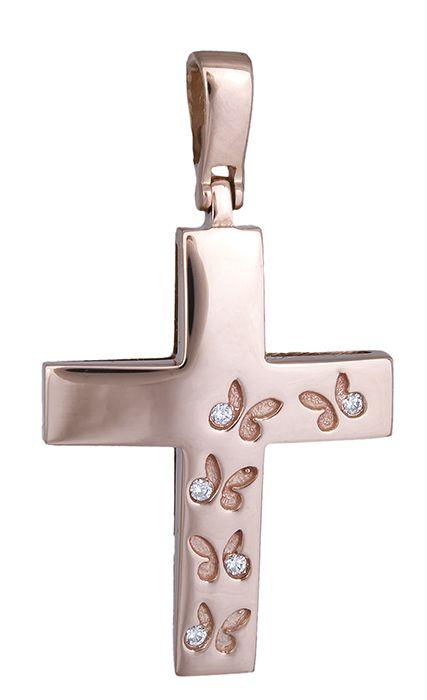 Γυναικείος σταυρός ροζ gold 18Κ 019922