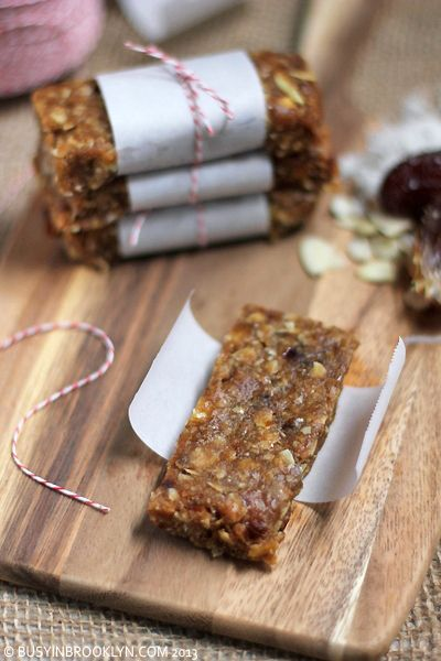 Chewy Date Granola Bars ~  Sweet and chewy and healthy. Wrap these chewy guys up in parchment paper, and throw them in your bag for the perfect healthy snack on the go.    Recipe @: http://www.busyinbrooklyn.com/healthy-date-granola-bars/