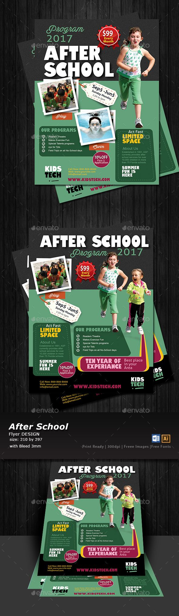After School Program Flyer Design Templates - Flyers Print Template Vector EPS, AI Illustrator. Download here: https://graphicriver.net/item/after-school-program-flyer-templates/17347505?ref=yinkira
