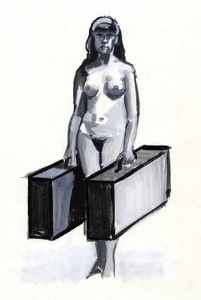 Alex van Warmerdam | Meisje met koffers | 2000 | gouache op papier 27x38 cm