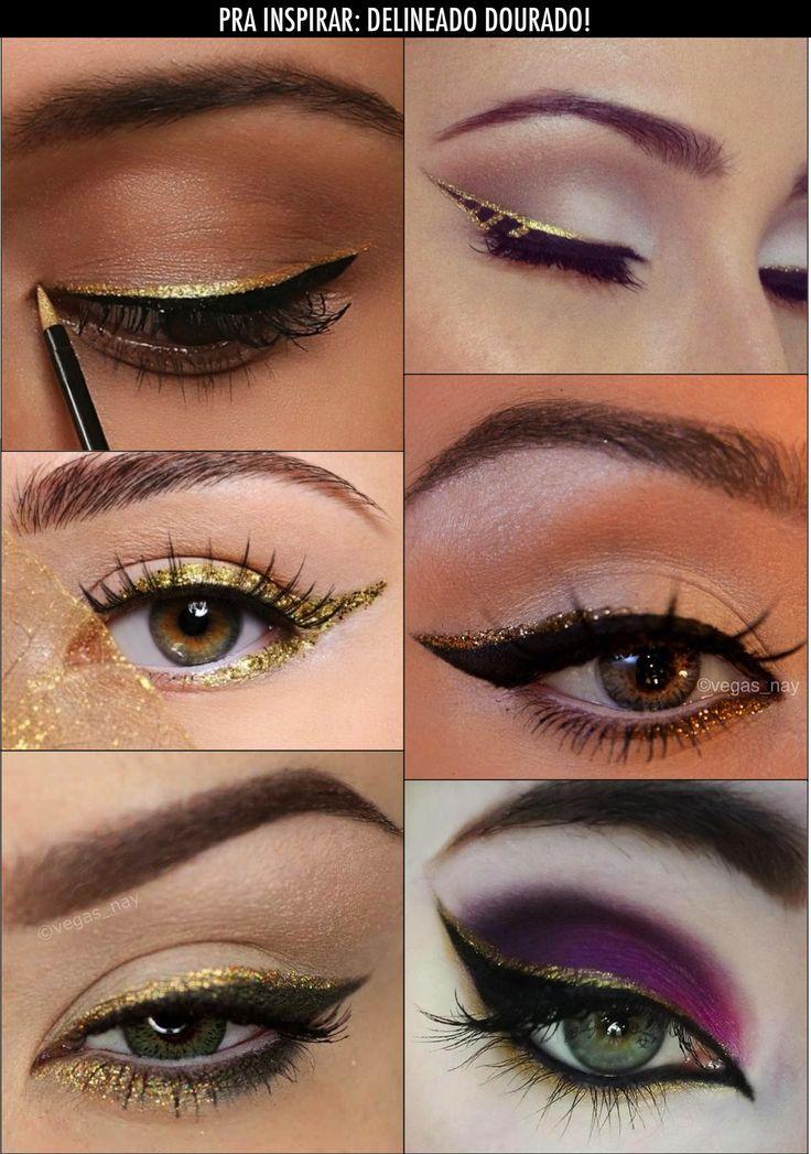 Delineador dourado!!! | Delineado de ojos | Pinterest ...