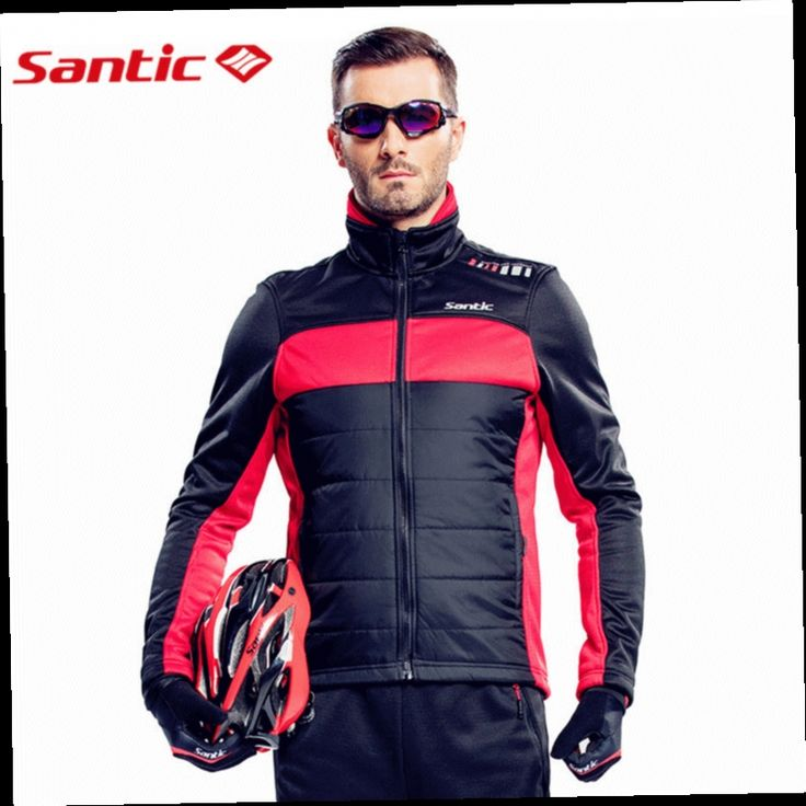 51.92$  Buy now - http://alifvd.worldwells.pw/go.php?t=32780322663 - Santic Men Cycling Winter Jacket Long Sleeve Fleece chaleco ciclismo Windproof Bicycle Jersey Thermal Fleece Riding Bike Jerseys