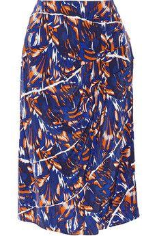 KENZO Printed silk crepe de chine skirt | NET-A-PORTER