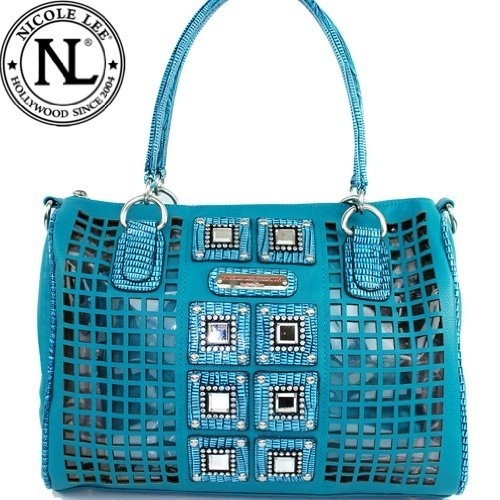 Amazon.com: Nicole Lee Lilan Square Windows Boston Bag Hollywood Celebrity Mirror Studded Adjustable-shoulder Handbag in Turquoise Teal Blue Aqua Blue: Clothing $57.99