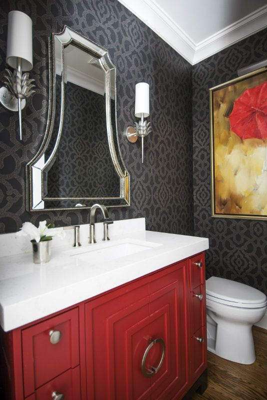 This is a dramatic powder room with a lipstick red vanity. Beth Haley Design, Nashville