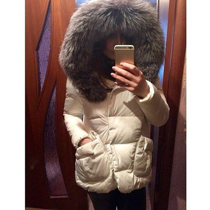 2016 Autumn Winter Jacket Women Parkas for Coat Fashion Female Down Jacket With a Hood Large Faux Fur Collar Coat