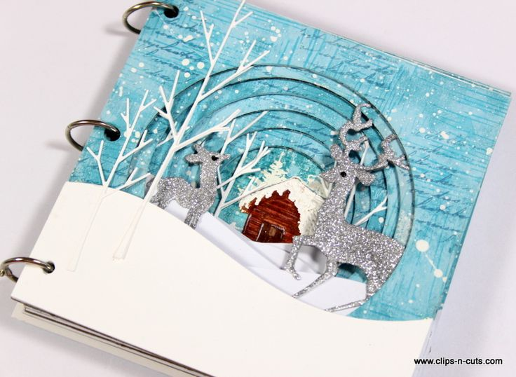 Vicky Papaioannou with a Winter themed tunnel book with video tutorial; Jan 2017 #VickyPapaioannou #mixedmedia #tunnelbook
