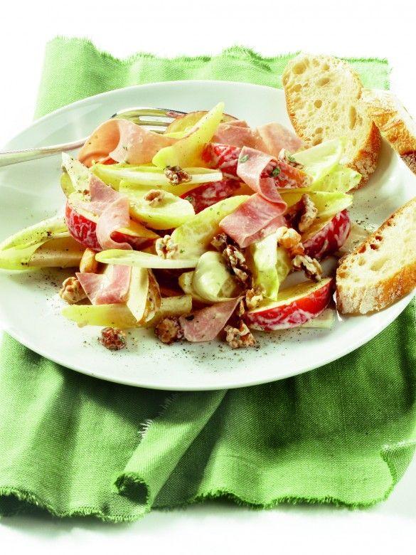 Jan Linders - Maaltijdsalade met witlof, fruit en ham (recept)