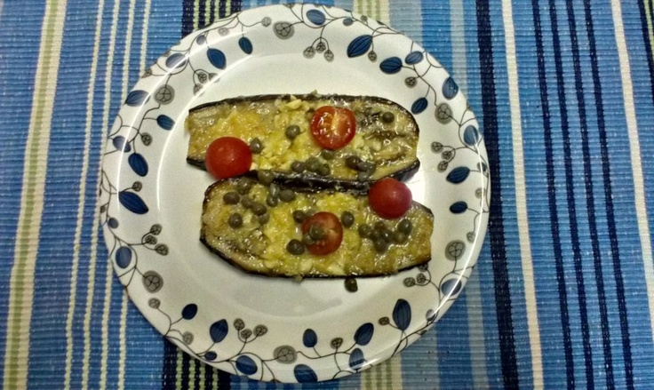 Roast eggplant with Gloucester cheese, Capers and Cherry tomatoes.    How do you like your eggplant... Soft and velvety or Crisp and crunchy?