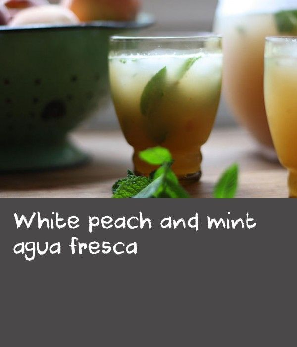 White peach and mint agua fresca | On hot summer days when it's too hot to eat, this is the drink I want to sip all day. Neither a soft drink nor a fruit juice, agua fresca, meaning 'fresh water' in Spanish, is a refreshing, subtly flavoured drink that is not too sweet. Agua frescas are sold by street vendors throughout Mexico and their carts are loaded with huge glass barrels of delicious thirst-quenching fruity flavours.  You can use watermelon or strawberry, but my favourite is white…