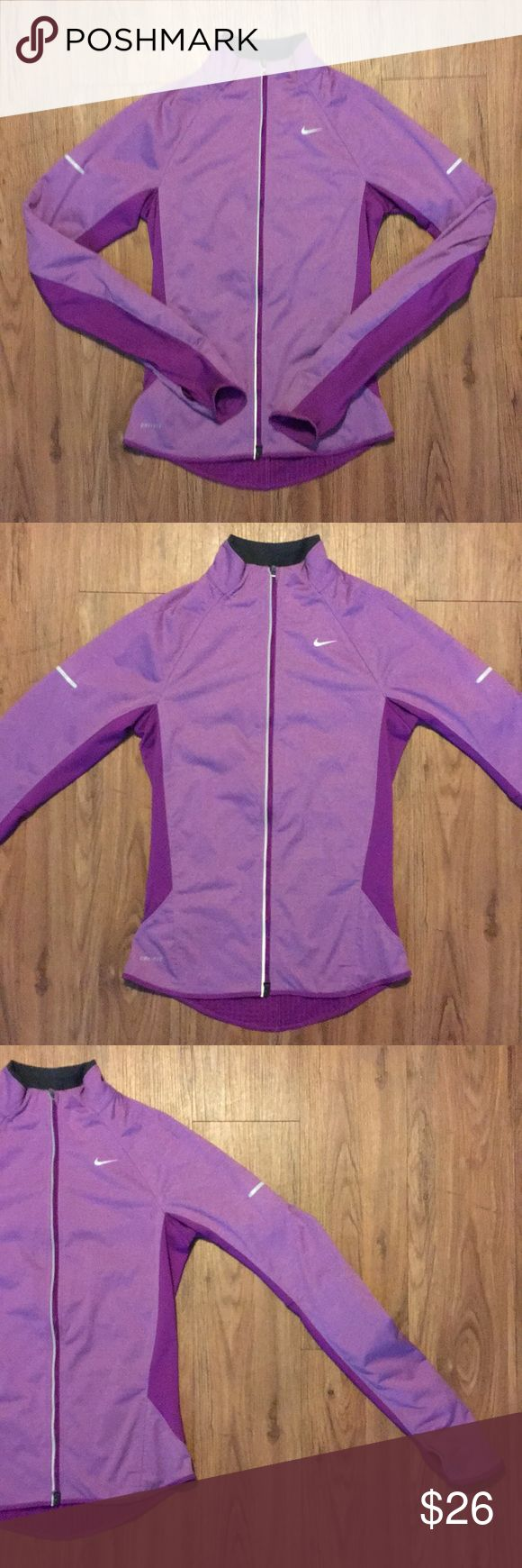 "Nike Women Fitted Jacket XS Purple Element Shield Women's active jacket by Nike  Tag size XS Style: Element Shield Color: heathered purple 100% polyester dual way zipper closure, thumb holes at cuffs, small Pocket with zipper at right lower back. Pre owned in excellent condition.   Sleeve: 30.5"" from base of neck to cuff Chest: 16"" across Hip: 16"" across Length: 23""  Bundle and save!!! Nike Jackets & Coats"