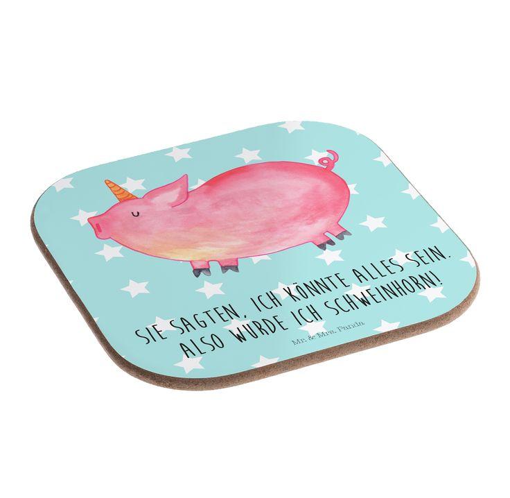 """Quadratische Untersetzer Einhorn Schweinhorn aus Hartfaser  natur - Das Original von Mr. & Mrs. Panda.  Dieser wunderschönen Untersetzer von Mr. & Mrs. Panda wird in unserer Manufaktur liebevoll bedruckt und verpackt. Er bestitz eine Größe von 100x100 mm und glänzt sehr hochwertig. Hier wird ein Untersetzer verkauft, sie können die Untersetzer natürlich auch im Set kaufen.    Über unser Motiv Einhorn Schweinhorn  """"Du kannst alles werden, was du willst!"""" Diesen Spruch haben viele Kinder von…"""
