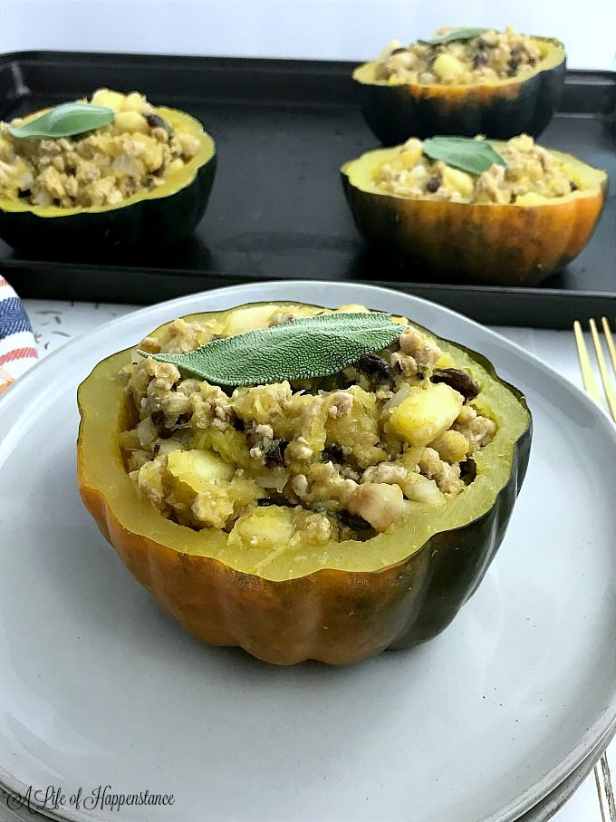 Turkey Stuffed Acorn Squash Recipe Acorn Squash Recipes Acorn