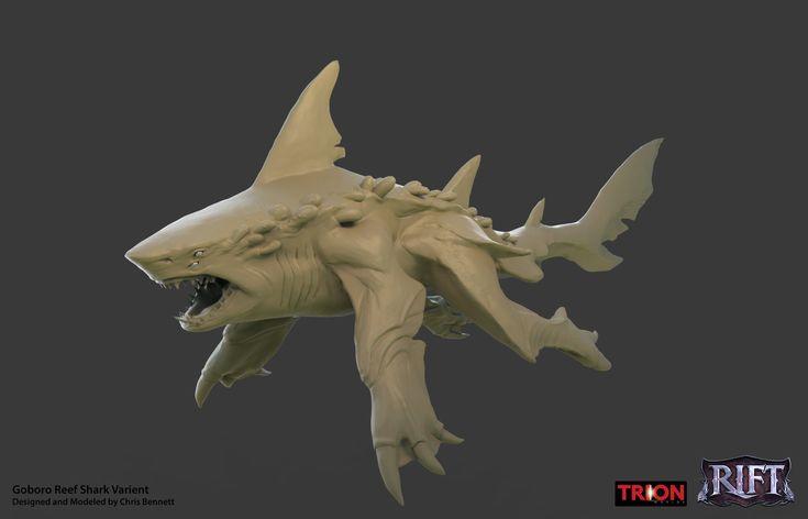 Goboro Reef Shark Creature / Mount, Chris Bennett on ArtStation at https://www.artstation.com/artwork/goboro-reef-shark-creature-mount