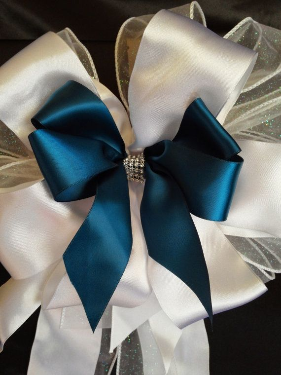 Large Teal Blue, White Satin, White Sparkle  Ribbon Bows With Bling Wedding, Reception, Decorations, Church Pew Bows, Made To Order