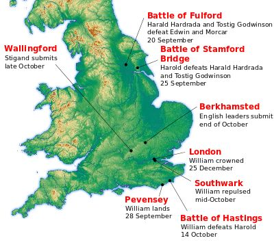 Norman's   Location of major events during the Norman conquest of England in 1066