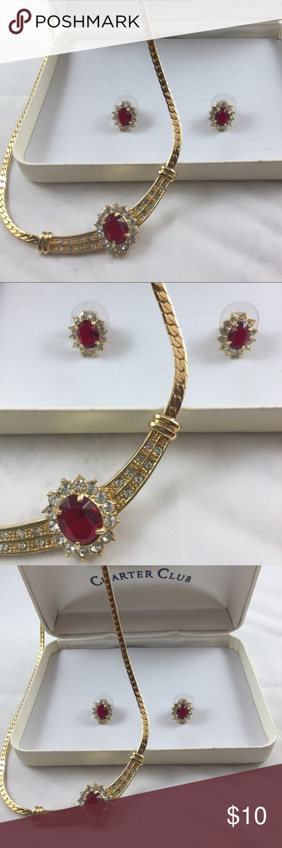 Charter Club Necklace and Earring Set Gold/Ruby Charter Club Costume Jewelry Necklace and Earring Set in Gold and Ruby. Like new. Gorgeous sparkle. Charter Club Jewelry Necklaces